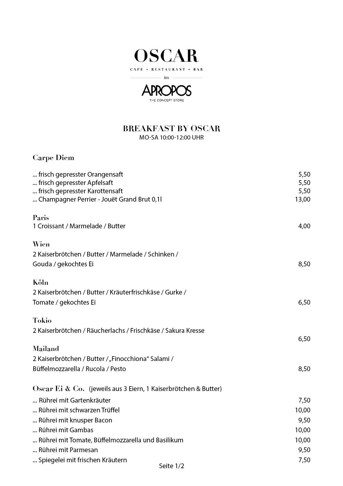 OSCAR im APROPOS - Bar, Restaurant, Café in Köln